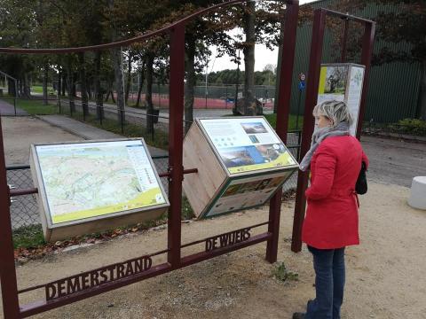 Vrouw kijkt naar de infoborden aan het Demerstrand