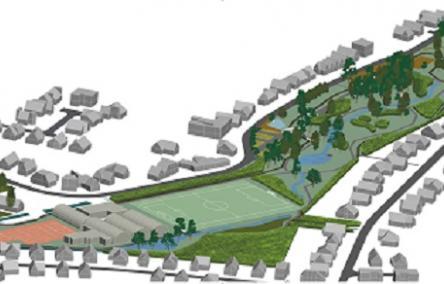 Toont visualisatie van het toekomstig park